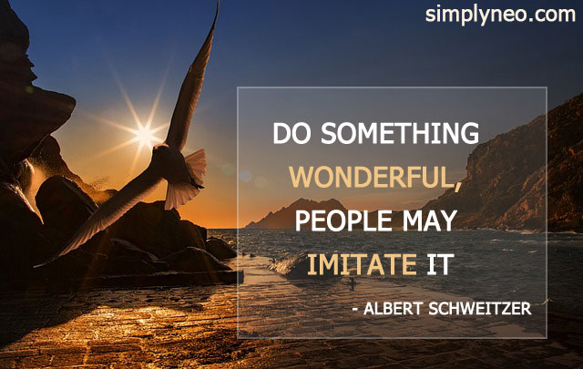 Do something wonderful, people may imitate it. ~ Albert Schweitzer