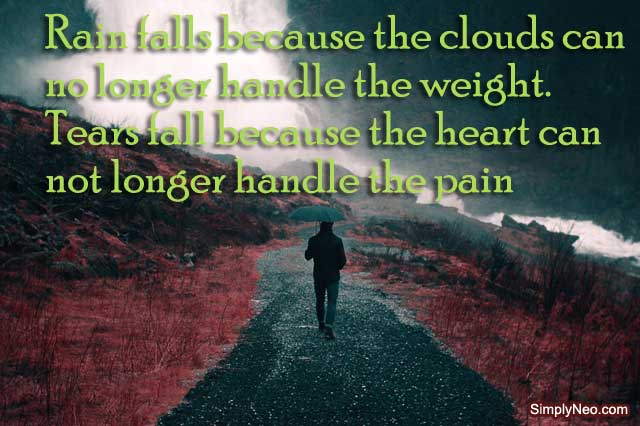Rain falls because the clouds can no longer handle the weight. Tears fall because the heart can not longer handle the pain