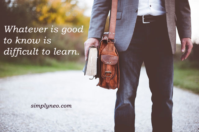 Whatever is good to know is difficult to learn.