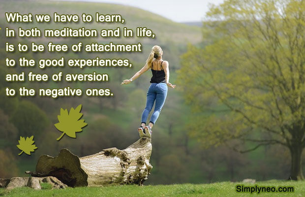 What we have to learn, in both meditation and in life, is to be free of attachment to the good experiences, and free of aversion to the negative ones - Sogyal Rinpoche