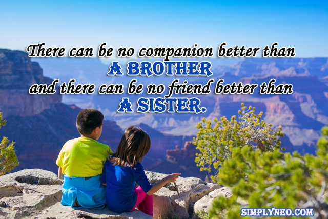 There can be no companion better than a brother and there can be no friend better than a sister.