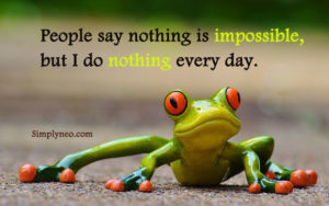 People say nothing is impossible, but I do nothing every day. funny meme