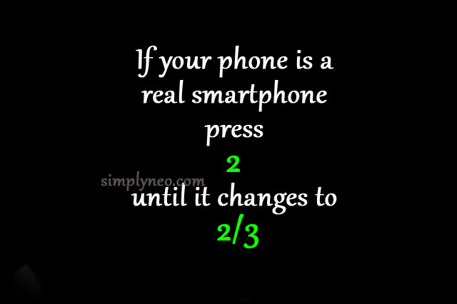 If your phone is a real smartphone press 2 until it changes to 2/3. Viral post on facebook, viral quiz, puzzle on social media