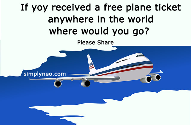 If you received a free plane ticket anywhere in the world where would you go? Please share Facebook quiz, social media quiz, puzzle world, time pass quiz