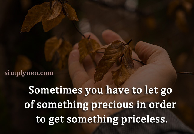 Sometimes you have to let go of something precious in order to get something priceless. positive attitude quote, life quotes, Inspirational life quotes, motivational quotes