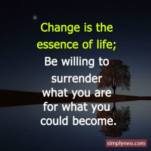 Change is the essence of life; be willing to surrender what you are for what you could become. - Reinhold Niebuhr